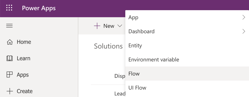 Create a Flow from within a Power App solution